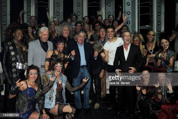 Brian May Robert De Niro Jim Beach Roger Taylor Phil McIntyre and Ben Elton celebrate with cast and crew backstage after the We Will Rock You 10 Year...