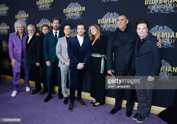 Brian May Roger Taylor Allen Leech Gwilym Lee Rami Malek Joe Mazzello Graham King and Mike Myers attend Bohemian Rhapsody New York premiere at The...