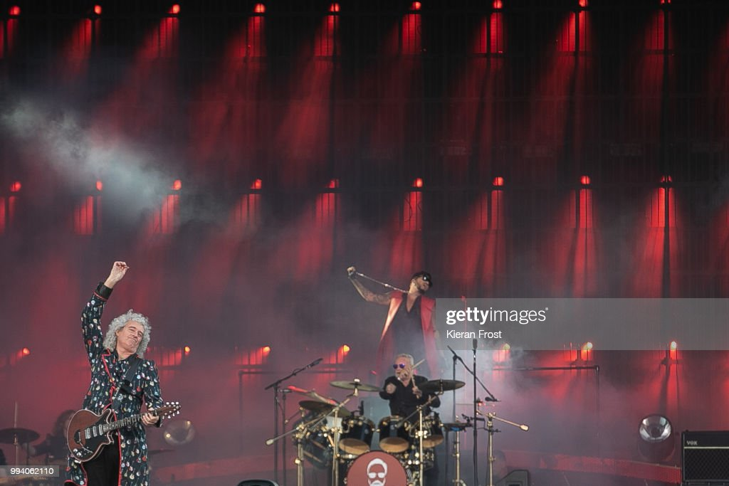 Brian May, Roger Taylor and Adam Lambert of Queen perform at Marlay Park on July 8, 2018 in Dublin, Ireland.