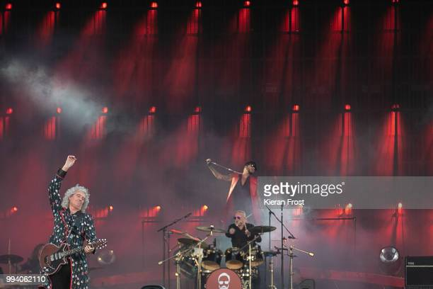 Brian May Roger Taylor and Adam Lambert of Queen perform at Marlay Park on July 8 2018 in Dublin Ireland