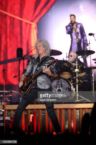 Brian May Roger Taylor and Adam Lambert perform at Mt Smart Stadium on February 07 2020 in Auckland New Zealand