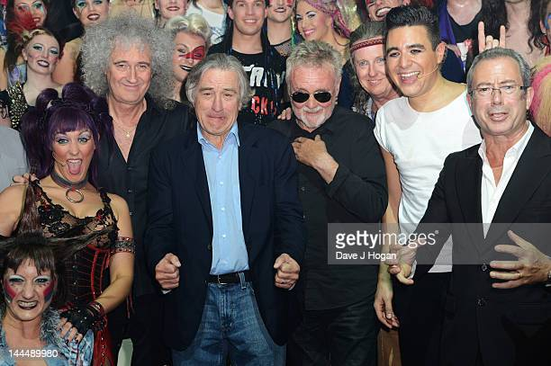 Brian May, Roger Taylor, Ben Elton and Robert De Niro attend the curtain call at the We Will Rock You 10 year anniversary at The Dominion Theatre on...