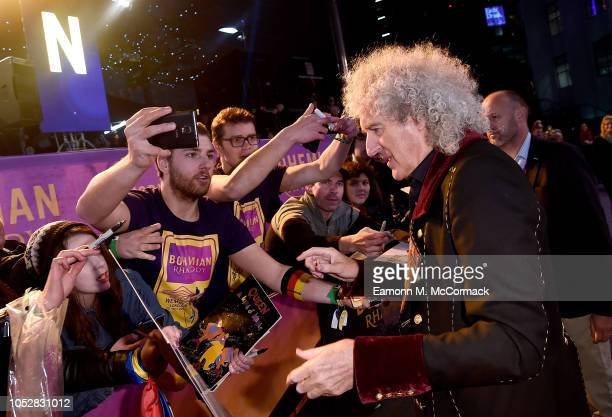 Brian May with fans at the World Premiere of 'Bohemian Rhapsody' at SSE Arena Wembley on October 23 2018 in London England