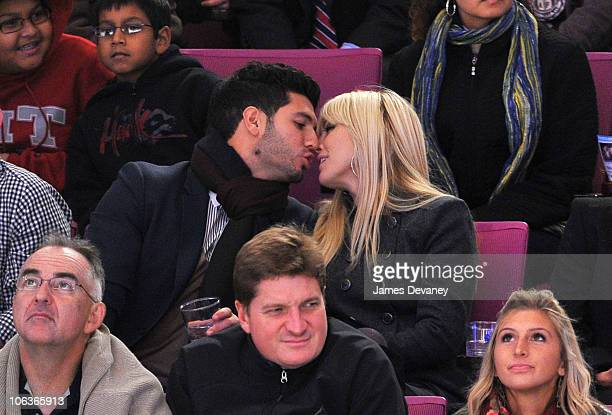 Brian Mazza and Tinsley Mortimer attend the Carolina Hurricanes Vs NY Rangers Game at Madison Square Garden on October 29 2010 in New York City