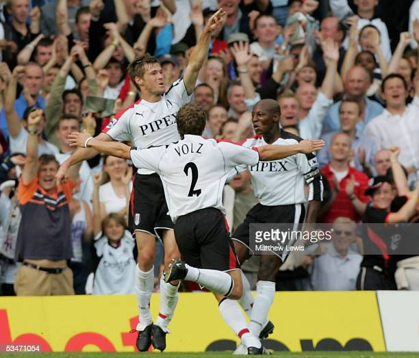 Brian McBride of Fulham celebrates his goal during the FA Barclays Premiership match between Fulham and Everton at Craven Cottage on August 27 2005...