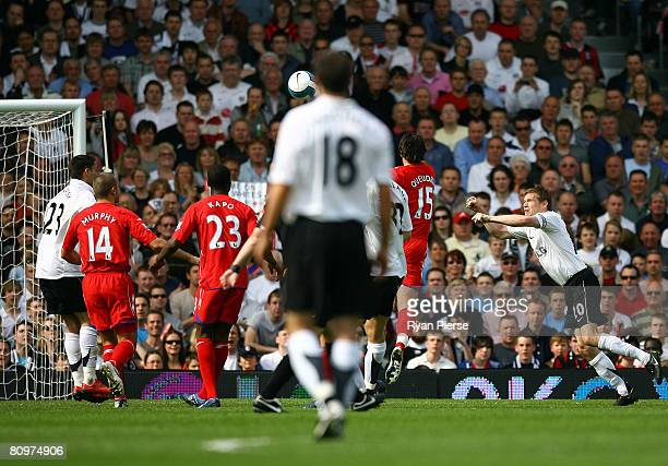 Brian McBride of Fulham scores during the Barclays Premier League match between Fulham and Birmingham City at Craven Cottage on May 3 2008 in London...