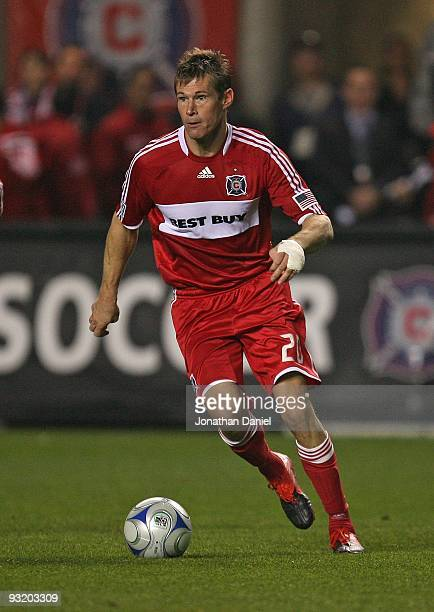 Brian McBride of the Chicago Fire controls the ball against Real Salt Lake during the MLS Eastern Conference Championship at Toyota Park on November...
