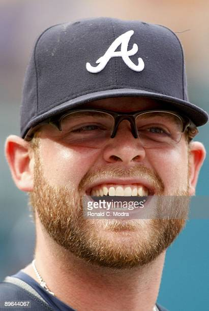 Brian McCann of the Atlanta Braves during batting practice before a MLB game against the Florida Marlins on July 30 2009 at Land Shark Stadium in...