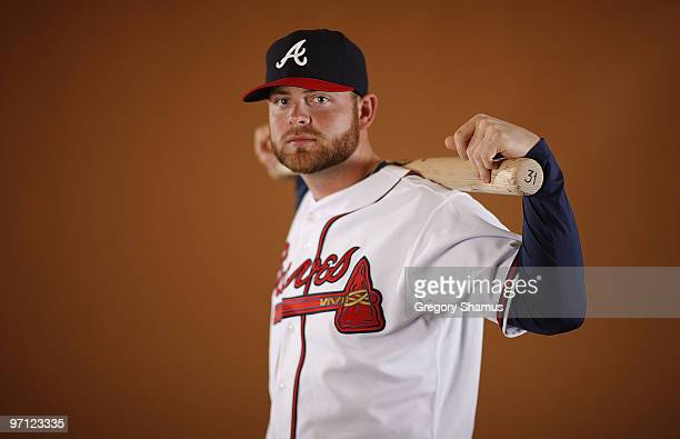Brian McCann of the Atlanta Braves poses during photo day at Champions Stadium on February 26, 2010 in Kissimmee, Florida.