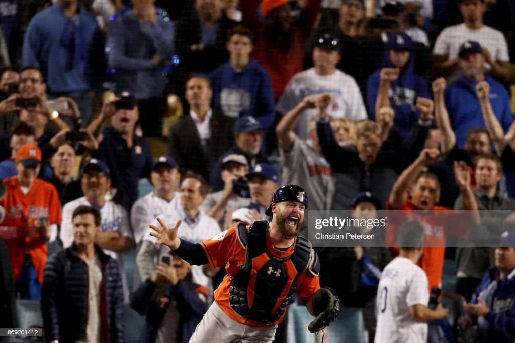 Brian McCann #16 of the Houston Astros celebrates after defeating the Los Angeles Dodgers in game seven with a score of 5 to 1 to win the 2017 World Series at Dodger Stadium on November 1, 2017 in Los Angeles, California.