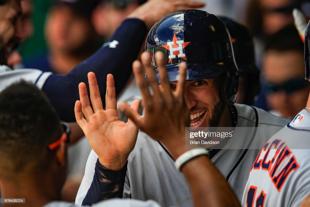 Brian McCann #16 of the Houston Astros celebrates scoring a run against the Kansas City Royals during the ninth inning at Kauffman Stadium on June 16, 2018 in Kansas City, Missouri.