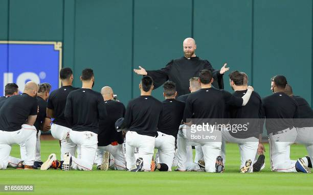 Brian McCann of the Houston Astros gives the eulogy for Carlos Beltran's glove in center field at Minute Maid Park on July 17 2017 in Houston Texas...
