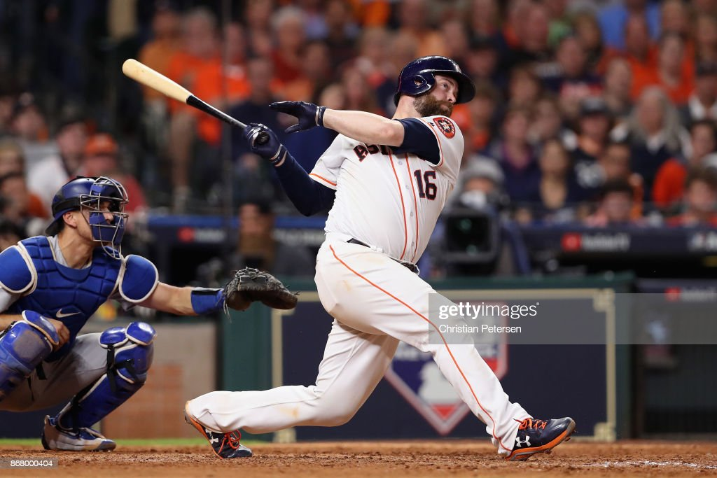 Brian McCann #16 of the Houston Astros hits a solo home run during the eighth inning against the Los Angeles Dodgers in game five of the 2017 World Series at Minute Maid Park on October 29, 2017 in Houston, Texas.