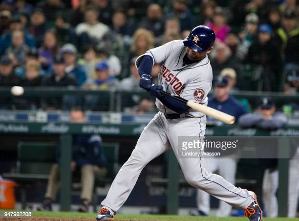 Brian McCann of the Houston Astros hits a two run home run to give the Astros the lead over the Seattle Mariners in the sixth inning at Safeco Field...