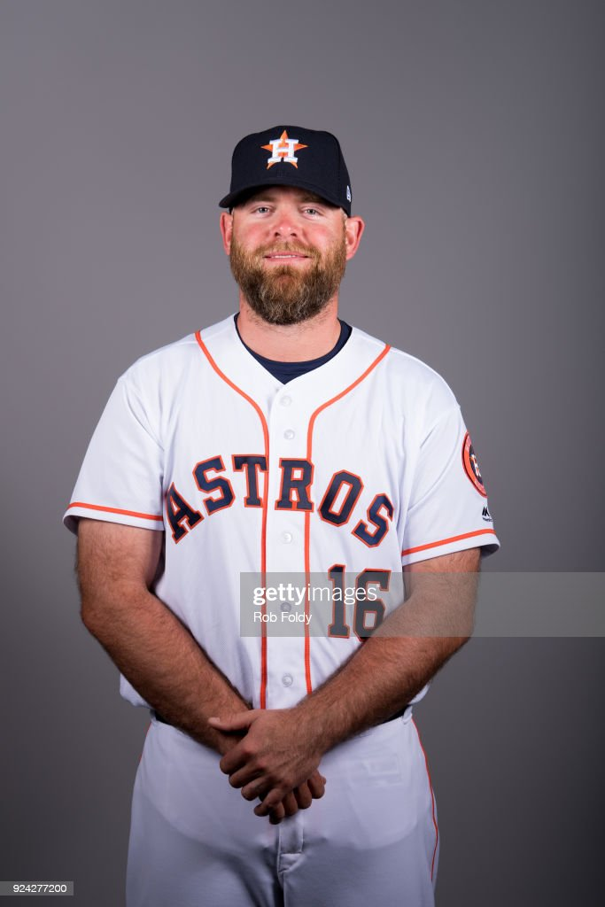 Brian McCann #16 of the Houston Astros poses during Photo Day on Wednesday, February 21, 2018 at the Ballpark of the Palm Beaches in West Palm Beach, Florida.