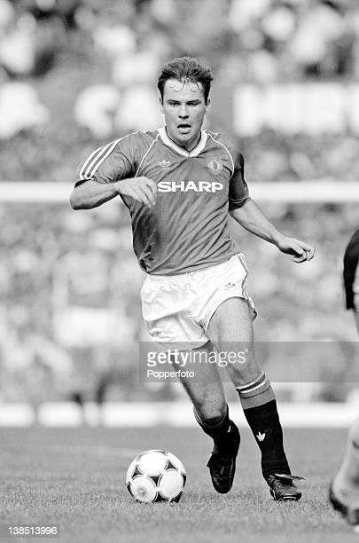 Brian McClair in action for Manchester United during their First Division match against Arsenal at Old Trafford in Manchester 2nd April 1989 The...