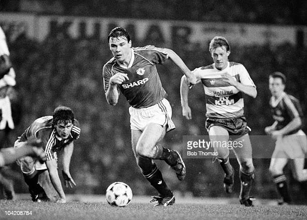 Brian McClair of Manchester United in action against Queens Park Rangers during the FA Cup 3rd round football match held at Old Trafford Manchester...