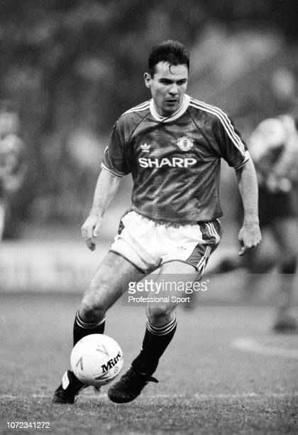 Brian McClair of Manchester United in action circa 1990