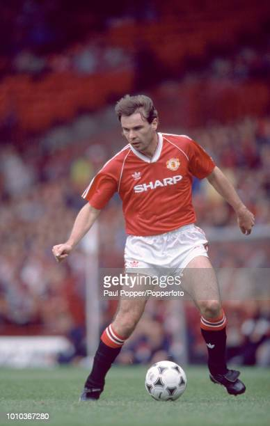 Brian McClair of Manchester United in action during the Barclays League Division One match between Manchester United and Everton at Old Trafford on...