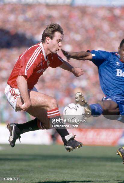Brian McClair of Manchester United in action during the FA Cup Semi Final match between Manchester United and Oldham Athletic at Maine Road on April...