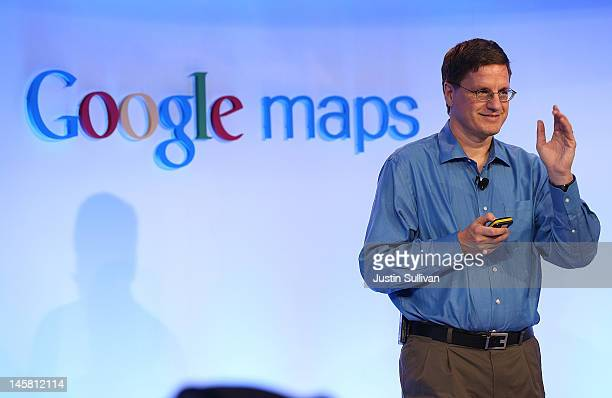 Brian McClendon Google VP of Engineering for Google Maps speaks during a news conference about Google Maps on June 6 2012 in San Francisco California...