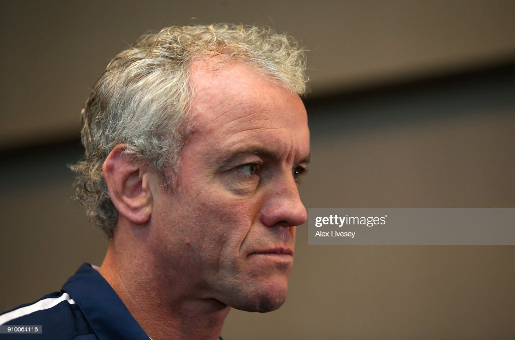 Brian McDermott the coach of Leeds Rhinos is interviewed during Super League 2018 Season Launch the at John Smith's Stadium on January 25, 2018 in Huddersfield, England.