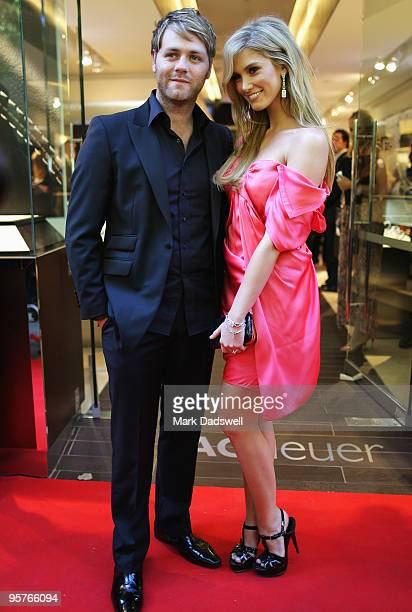 Brian McFadden and Delta Goodrem arrive for the official opening of TAG Heuer's first Melbourne boutique at Collins Street on January 14 2010 in...