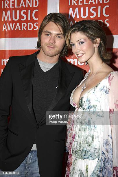 Brian McFadden and Delta Goodrem during 2005 Meteor Music Awards at Point Theatre in Dublin Ireland