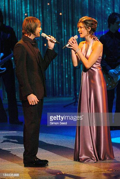 Brian McFadden and Delta Goodrem during The Royal Variety Concert Inside and Show at The London Coliseum in London England Great Britain