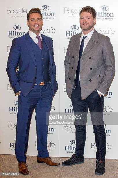 Brian McFadden and Keith Duffy from Westlife and Boyzone have joined forces to create Boyzlife at Hilton London Bankside on March 8 2016 in London...