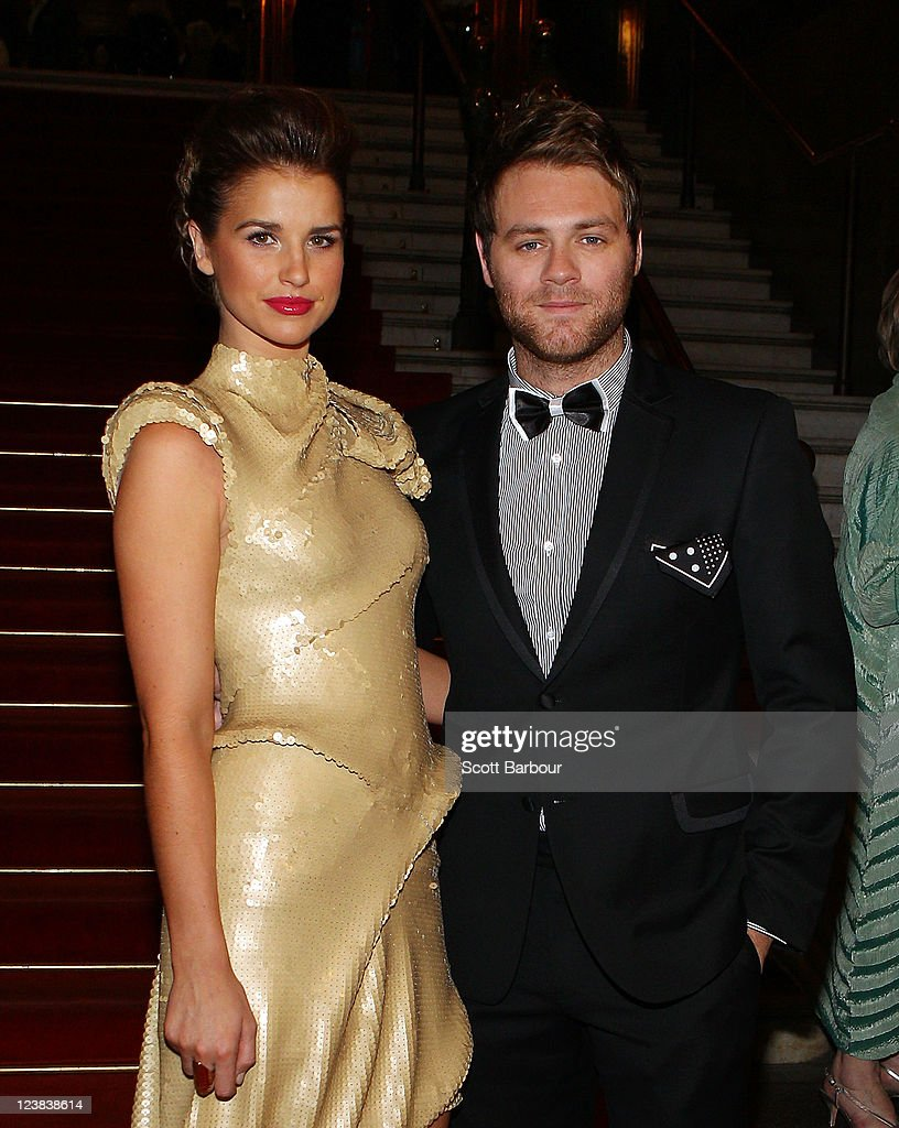 Brian McFadden and Vogue Williams arrive at a function to unveil Dannii Minogue's favourite Melbourne Spring Fashion Week 2011 looks at Melbourne Town Hall on September 5, 2011 in Melbourne, Australia.
