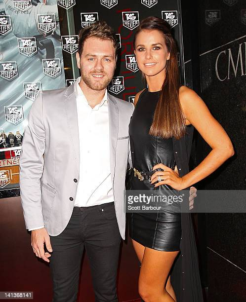 Brian McFadden and Vogue Williams arrive at the TAG Heuer Grand Prix cocktail party on March 15 2012 in Melbourne Australia