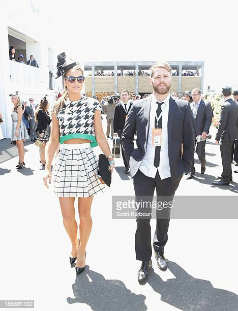 Brian McFadden and Vogue Williams arrive to attend the Emirates marquee on Derby Day at Flemington Racecourse on November 3 2012 in Melbourne...