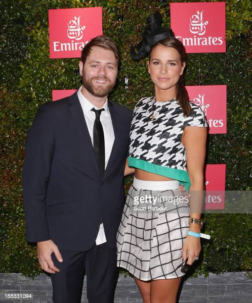 Brian McFadden and Vogue Williams attend the Emirates marquee on Derby Day at Flemington Racecourse on November 3 2012 in Melbourne Australia