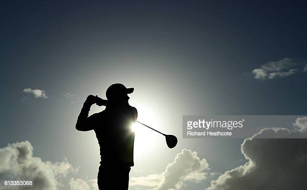 Brian McFadden drives off the 17th tee during the third round of the Alfred Dunhill Links Championship on the Golf Links course Kingsbarns on October...
