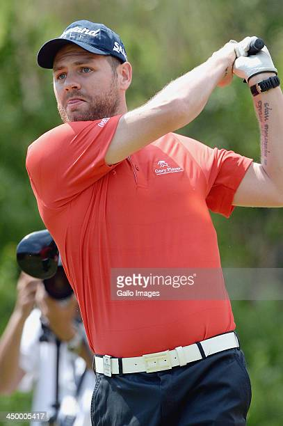 Brian McFadden tees off during Round 1 of the Gary Player Invitational presented by CocaCola at The Lost City Golf Course on November 16 2013 in Sun...