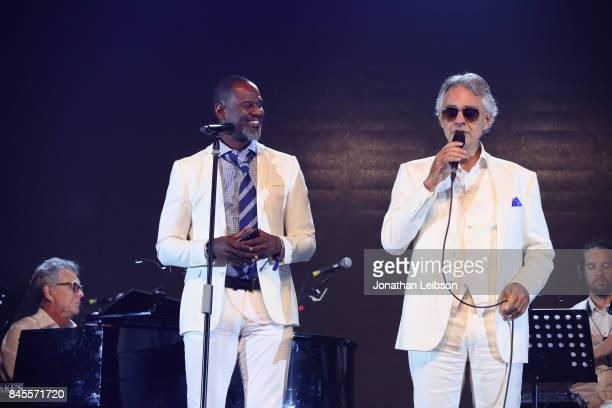 Brian McKnight and Andrea Bocelli perform the Closing Night Gala at Cinecittà as part of the 2017 Celebrity Fight Night in Italy Benefiting The...