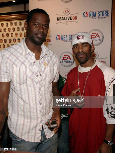 Brian McKnight and DJ Clue at the exclusive premiere of EA Sports NBA Live 06 at the NBA Store in New York City on September 27 2005