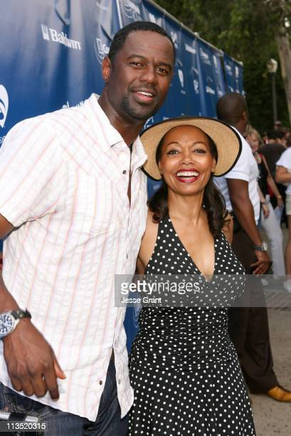 Brian McKnight and Florence LaRue during Gibson and Baldwin Host 2006 Night at the Net Red Carpet at Los Angeles Tennis Center in Los Angeles...