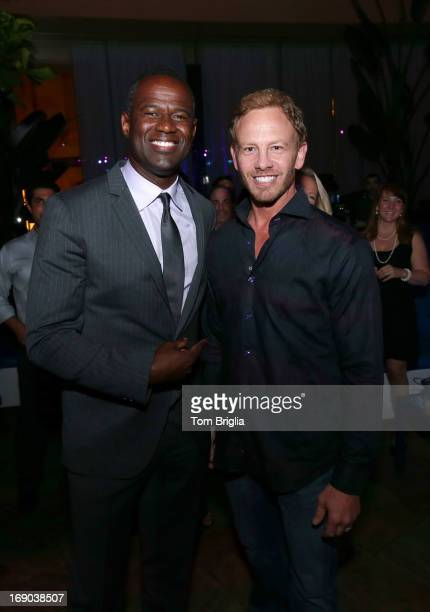 Brian McKnight and Ian Ziering visited The Pool After Dark at Harrah's Resort on Friday May 18 2013 in Atlantic City New Jersey