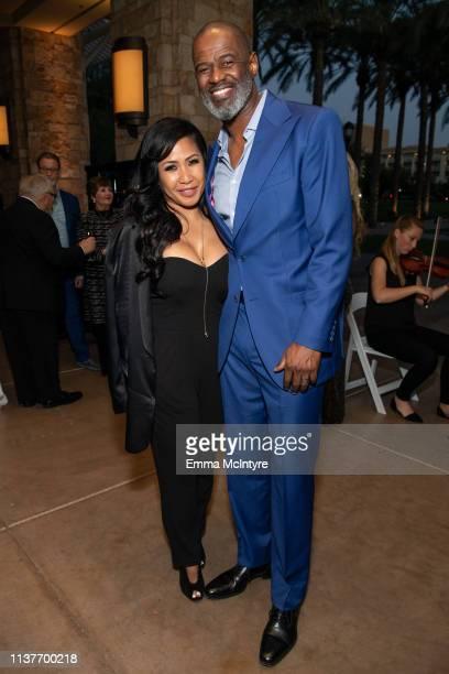 Brian McKnight and Leilani Malia Mendoza attend the Celebrity Fight Night's Founders Club Dinner at JW Marriott Desert Ridge Resort Spa on March 22...