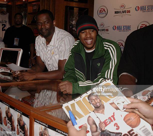 Brian McKnight and Nick Cannon at the exclusive premiere of EA Sports NBA Live 06 at the NBA Store in New York City on September 27 2005