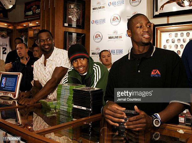 Brian McKnight Nick Cannon and Dwyane Wade at the exclusive premiere of EA Sports NBA Live 06 at the NBA Store in New York City on September 27 2005