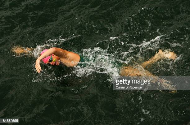 Brian McLeod of Australia swims during the triathlon teams relay during day four of the Australian Youth Olympic Festival at the Sydney International...