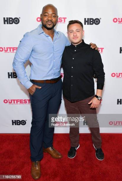 Brian Michael Smith and Alex Schmider attend the Outfest Los Angeles LGBTQ Film Festival screening of Changing the Game centerpiece documentary at...