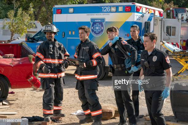 Brian Michael Smith Ronen Rubenstein Liv Tyler guest star Brianna Baker and guest star Mark Elias in the Act of God episode of 911 LONE STAR airing...