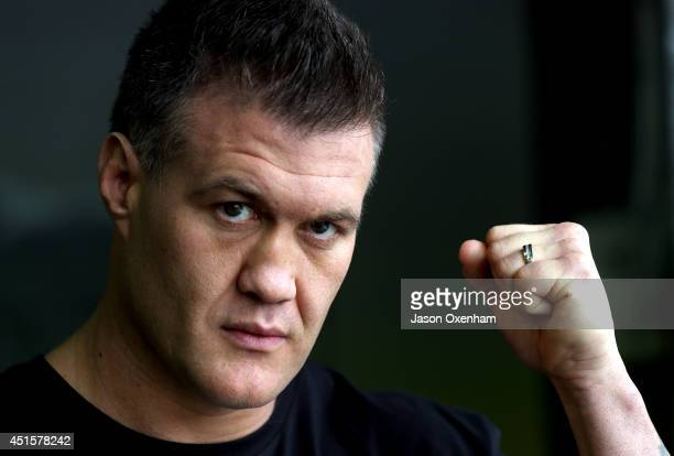 Brian Minto poses after a press conference at City Boxing on July 2 2014 in Auckland New Zealand