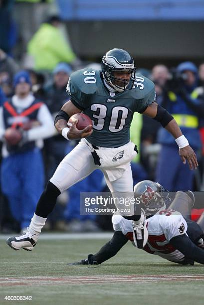 Brian Mitchell of the Philadelphia Eagles runs with the ball during a game against the Tampa Bay Buccaneers on January 19 2003 at Veteran's Stadium...