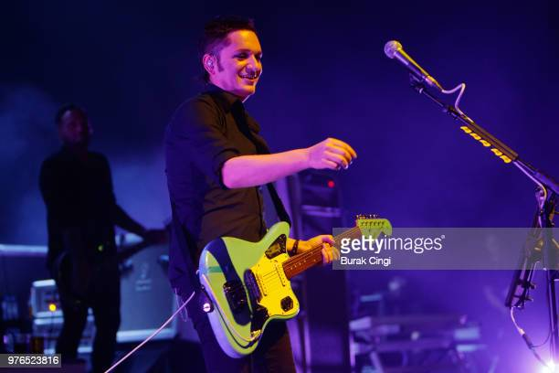 Brian Molko of Placebo performs at Robert Smith's Meltdown festival at The Royal Festival Hall on June 16 2018 in London England