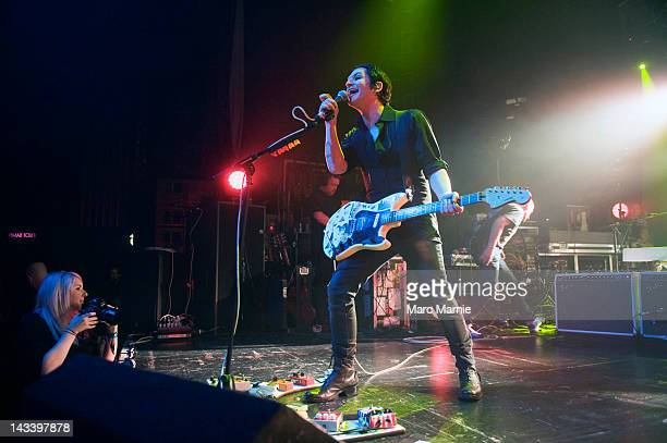 Brian Molko of Placebo performs on stage at HMV Picture House on April 25 2012 in Edinburgh United Kingdom